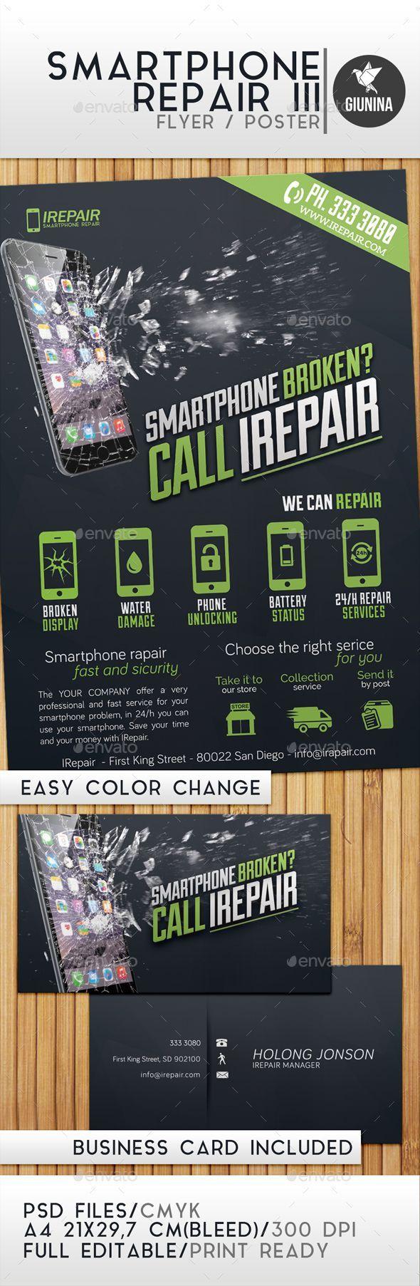 Smartphone Repair 3 Flyer Poster Template Psd Design Download Http Graphicriver Net Item Smartphone Repair 3 F Smartphone Repair Smartphone Iphone Repair