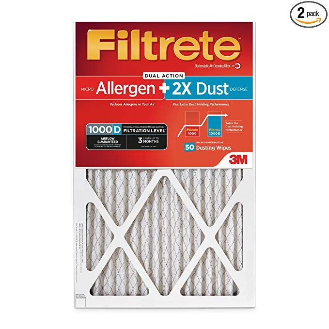 Filtrete Ad00pl 2pk 6e Micro Allergen Plus Dust Filter 16 In X 20 In X 1 In 2 Pack 16 X 20 X 1 Mpr 1000d Hvac Air U Hvac Air Dust Mite Allergy Dust Filter