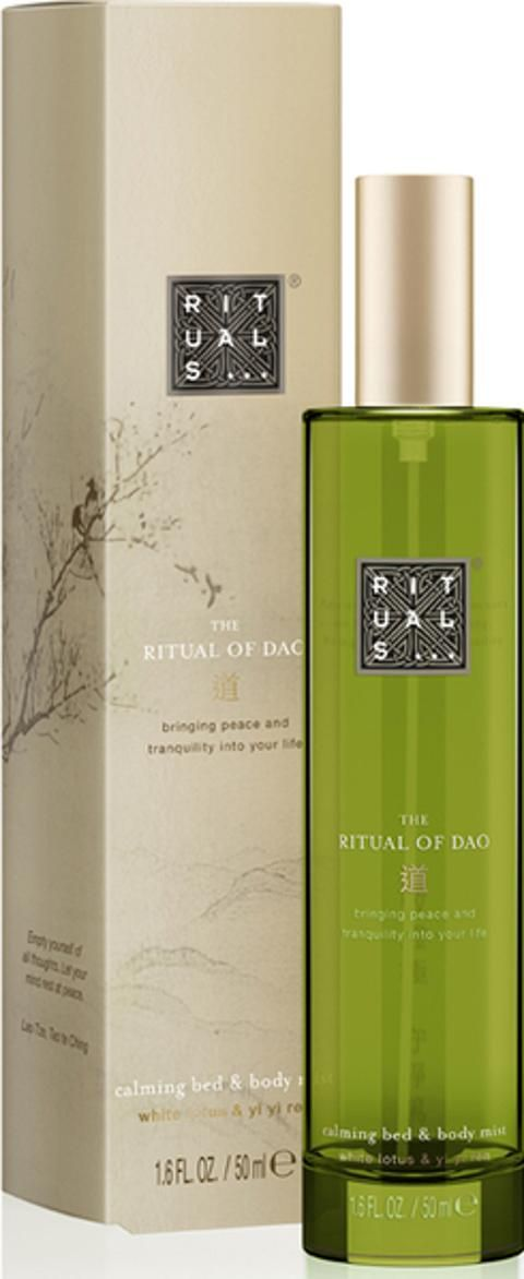 The Ritual of Dao Bed and Body Mist. Experience the calming benefits of Rituals The Ritual of Dao Bed and Body Mist, a body and textile perfume that gently refreshes your skin and linens. The mist combines the nourishing properties of Yi Yi Ren with a gentle White Lotus fragrance to moisturise skin and promote a good night's sleep #Rituals #Fragrance #beauty #skincare #Coggles #Unisex  #obsessory #lifestyle #myobsession