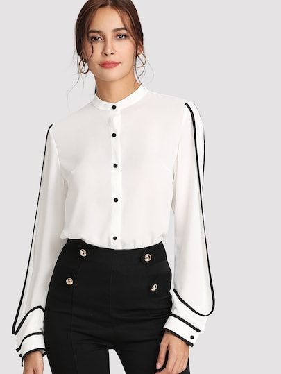 9704a66eff5ff Shop Contrast Binding Curved Hem Shirt online. SheIn offers Contrast  Binding Curved Hem Shirt & more to fit your fashionable needs.