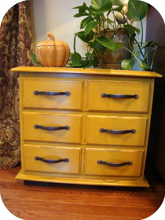 yellow distressed drawers
