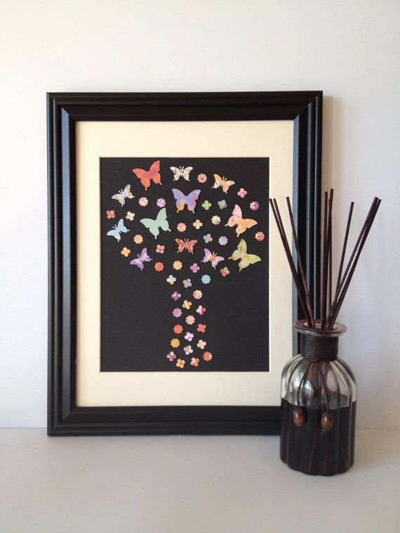 Butterfly Tree Paper Wall Art  Colourful Palette by 1981Collective