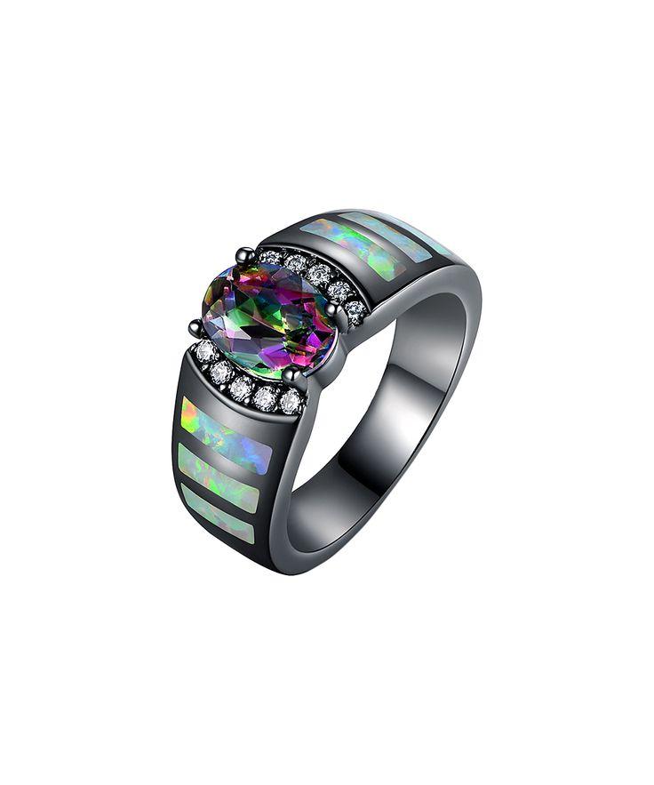 Green Topaz & Opal Oval-Cut Ring
