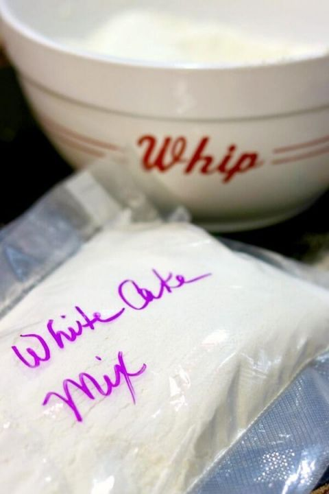 Quick and easy, homemade white cake mix is budget friendly, too. From RestlessChipotle.com