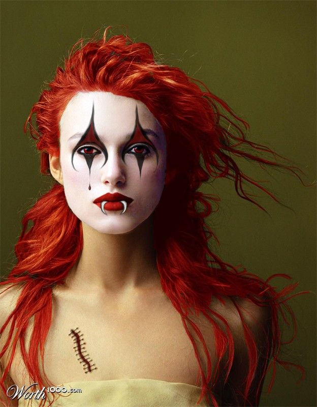 Miss Knightley as an evil clown