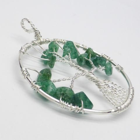 Tree Jade Onyx Pendant | gemstone chips | silver plated wire | Crystal Heart Melbourne Australia since 1986