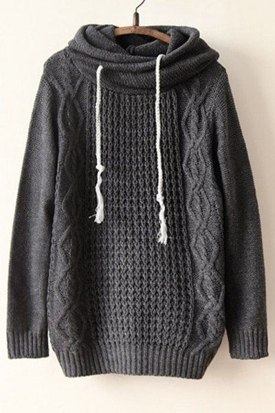 Chic Hooded Long Sleeve Pure Color Sweater For Women