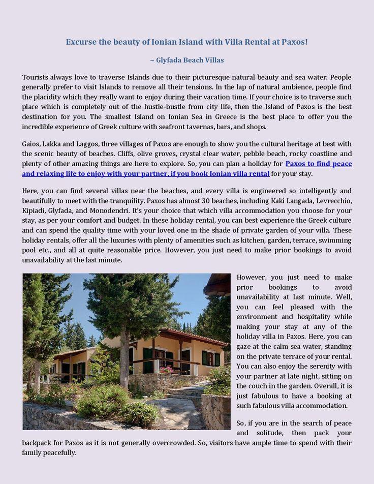 Excurse the beauty of Ionian Island with Villa Rental at Paxos!   Glyfada Beach Villas