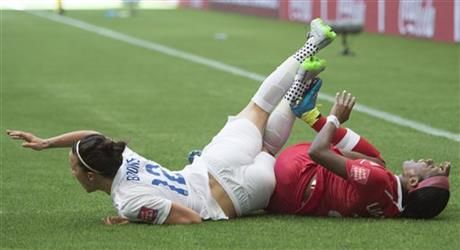 Canada's Ashley Lawrence, right, and England's Lucy Bronze fall onto the turf during the first half of a quarterfinal of the Women's World Cup soccer tournament, Saturday, June 27, 2015, in Vancouver, British Columbia, Canada. (Jonathan Hayward/The Canadian Press via AP ▼27Jun2015AP|England eliminates host Canada in World Cup Q-final, 2-1 http://bigstory.ap.org/article/ecbed7da9c054a759fb72b389def6172 #Quarterfinal_England_vs_Canada