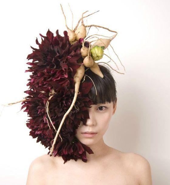 Unusual Hair Dressing Using Fresh Flowers and Vegetables