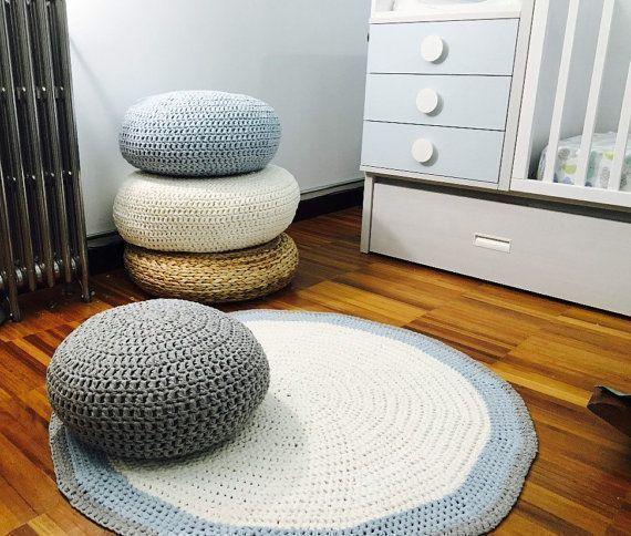 Crochet Round Floor Cushions Nursery Decor Living By Loopinghome