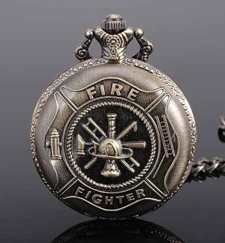 pwb23 relógio de bolso aço inox folh bronze bombeiros fire