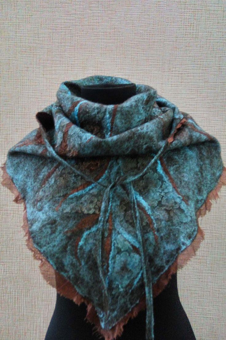 Felted scarf, Women scarf, warm scarf, merino scarf, baktus female, baktus wool, beautiful baktus, turquoise scarf, turquoise baktus by FeltEcoStyle on Etsy