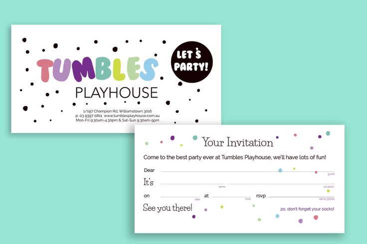 Tumble Playhouse Branding | logo design | business card | party invitation | Lollipop Creative Studio