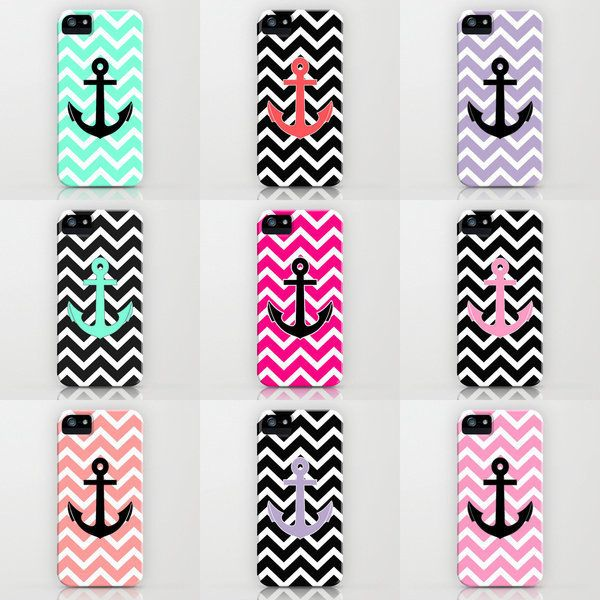 Summer Anchor iPhone cases by RexLambo ($35) My favorite is the blue chevron with a black anchor ⚓ @Christina Childress & Matysek