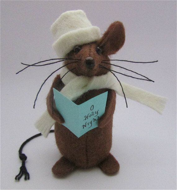 Christmas Mouse  Carolling Mouse  Felt Mouse  by AllThingsMice                                                                                                                                                                                 More