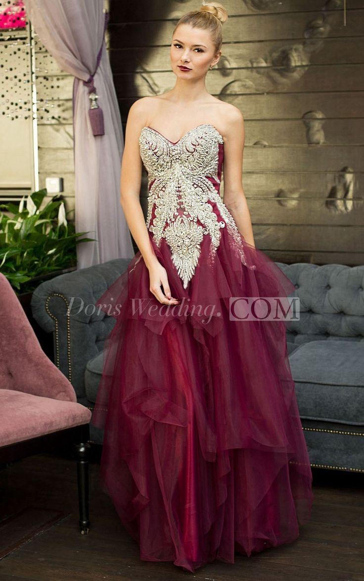 A-Line Floor-Length Sweetheart Sleeveless Tulle Ruffles Beading Lace-Up Dress