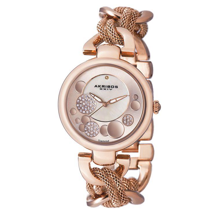 Akribos XXIV Women's Crystal Mesh Twist Chain Link Bracelet Watch - Overstock™ Shopping - Big Discounts on Akribos XXIV Akribos XXIV Women's Watches