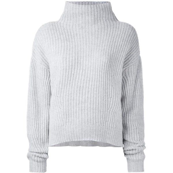 Le Kasha 'Veribier' cashmere jumper found on Polyvore featuring tops, sweaters, jumpers, shirts, grey, wool cashmere sweater, grey shirt, grey sweater, grey cashmere sweater and jumper top