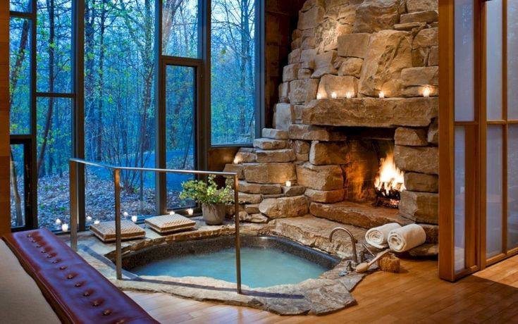 36 Astonishing And Cozy Bathrooms Design Ideas With Fireplace
