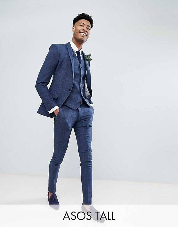 2874c5ee967 ASOS TALL Wedding Super Skinny Suit in Petrol Blue Herringbone   R&J ...