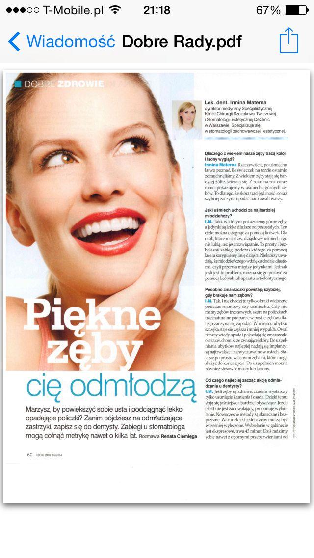 Dobre Rady - DeClinic porady Piękne zęby cię odmłodzą www.declinic.pl  #dobrerady #dentystawarszawa #stomatologiawarszawa