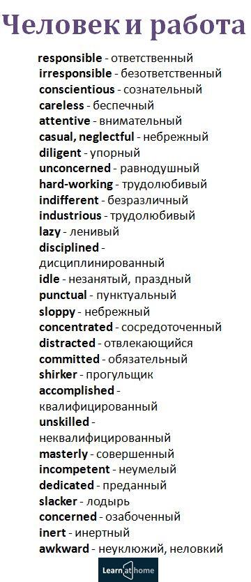 Слова для описания отношения человека к работе #english #vocabulary #английский