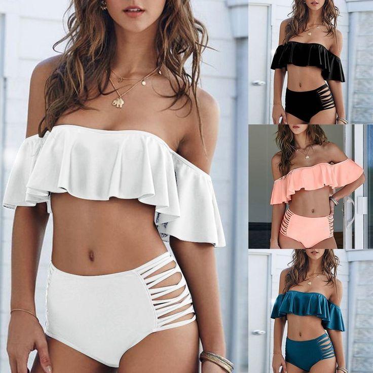 7,42$ Women Bikini Push UP Swimsuit Swimwear Padded Bandeau Bra Set Bathing Beachwear  | eBay