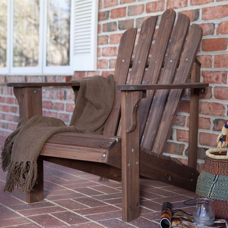 Durable Outdoor Patio Wooden Adirondack Chair In Dark Brown Finish
