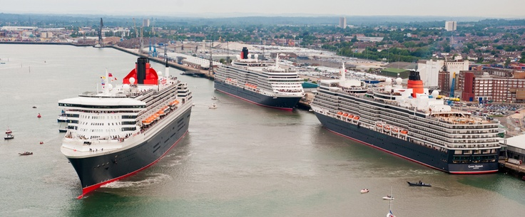 Cunard's Three Queens together for the first time in Southampton