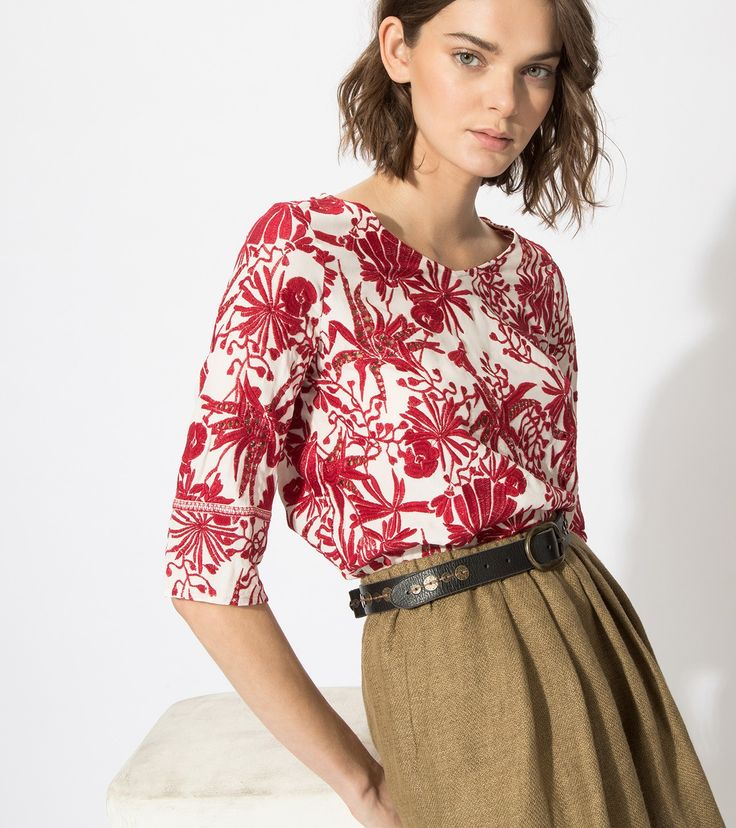 maje LILIE Embroidered top at Maje US