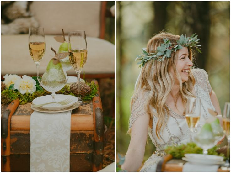 Glass of bubbles and a beautiful bride. Loving the leafy wreath! Styled by Meant To Be.