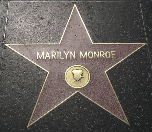 Marilyn Monroe's star on the Hollywood Walk of Fame, located in front of McDonald's, on Hollywood Boulevard. The star was placed here on February 9th 1960.  R