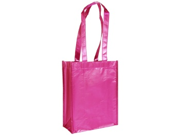 Metallic Reusable  9.25 x 4.5 x 12in Pink 100% Recycled material -build your brand while saving the planet!