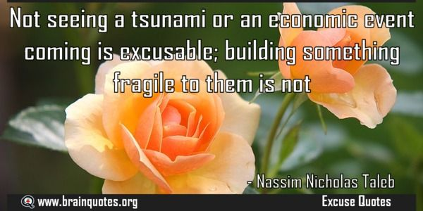 Not seeing a tsunami or an economic event coming is excusable  Not seeing a tsunami or an economic event coming is excusable; building something fragile to them is not  For more #brainquotes http://ift.tt/28SuTT3  The post Not seeing a tsunami or an economic event coming is excusable appeared first on Brain Quotes.  http://ift.tt/2eXAt7I