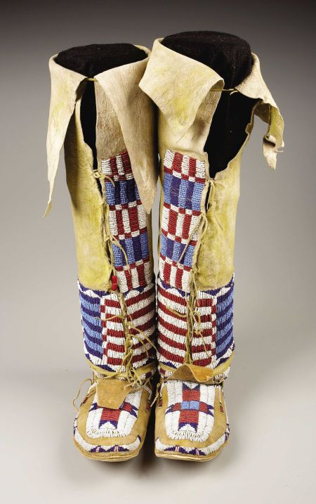 Cheyenne woman's leggings and moccasins 1885.