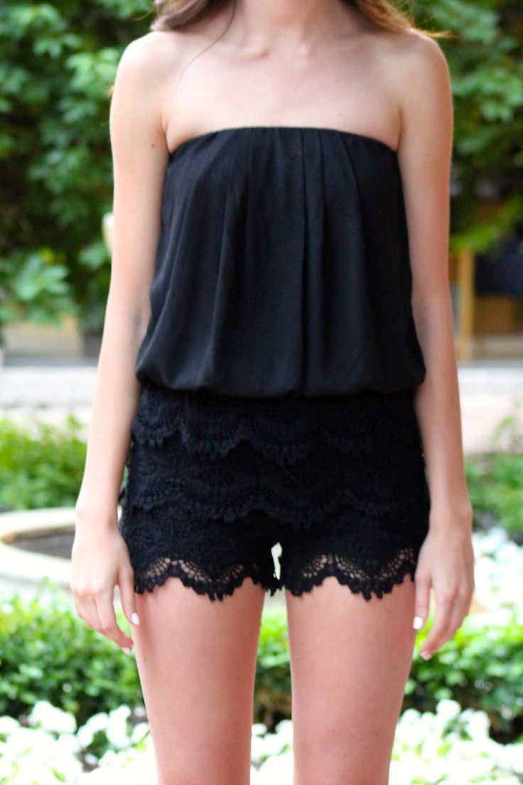 Strapless Lace Romper, Black