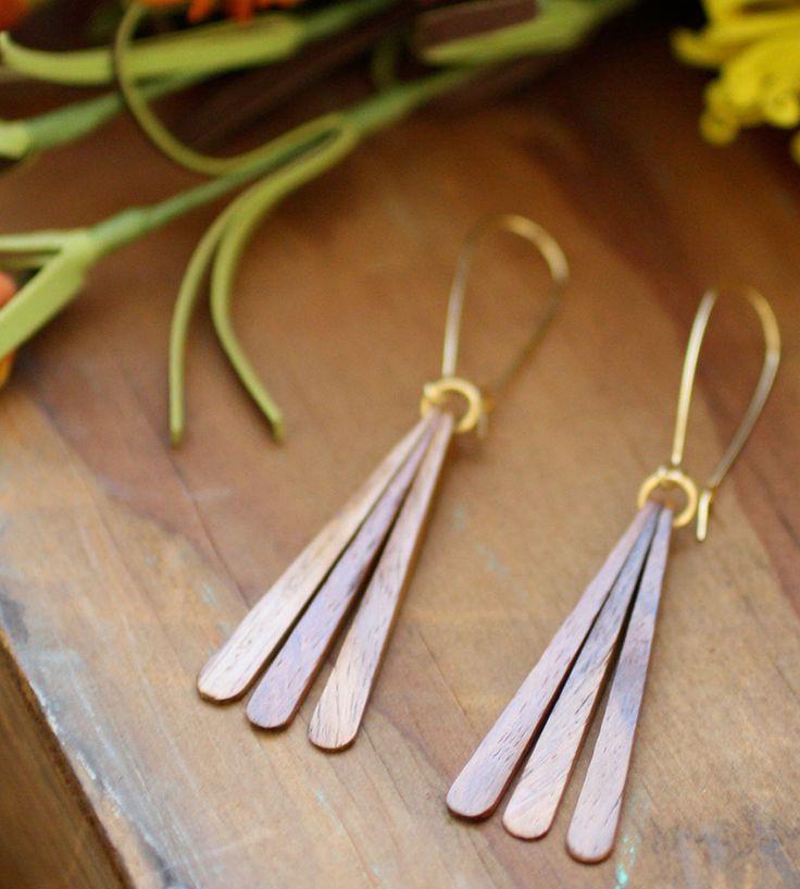 Teak Wood Fan Earrings