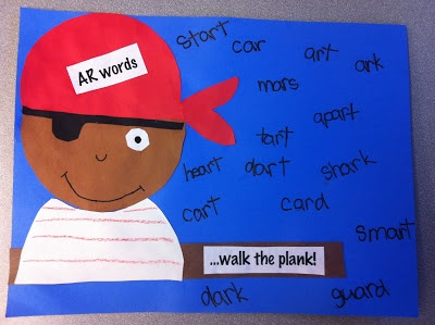 """students create pirates & brainstorm /ar/ words to walk the plank.  I so want to do something next year for """"National Talk Like a Pirate Day"""""""