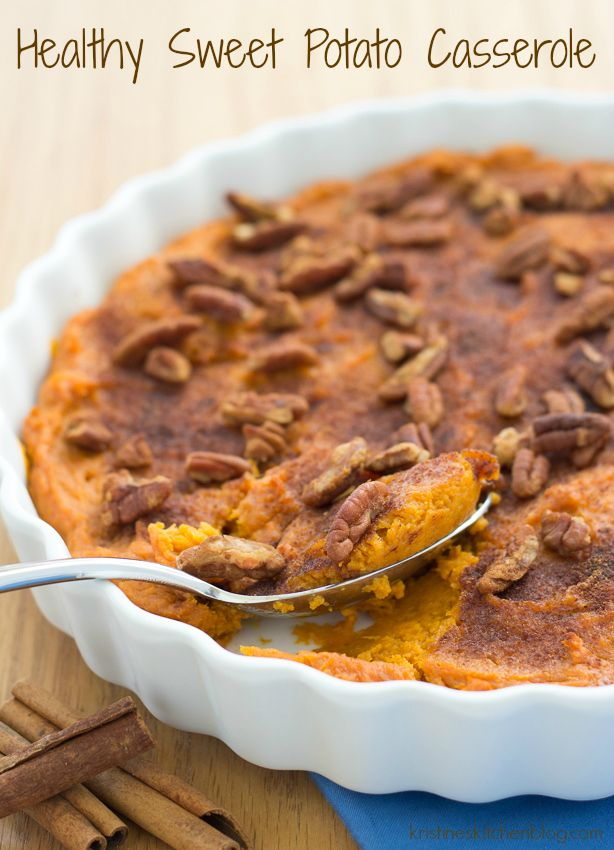 Steamed sweet potatoes are whipped together with honey, egg, cinnamon, and nutmeg in this Healthy Sweet Potato Casserole. You won't be able to resist a second helping!