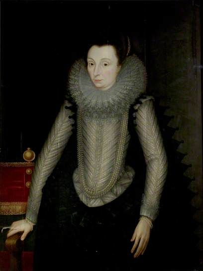 Portrait of a Lady Called 'Countess of Nottingham' (c.1547–1603) (Catherine Carey) by John de Critz the elder (attributed to)    Date painted: 1600–1605 Oil on wood, 113.6 x 85.7 cm Collection: Nottingham City Museums and Galleries. Catherine Carey was the wife of Charles Howard, Earl of Effingham, and 1st Earl of Nottingham, Lord Admiral and Victor of the Armada. The painting was originally attributed to Federigo Zucchero.