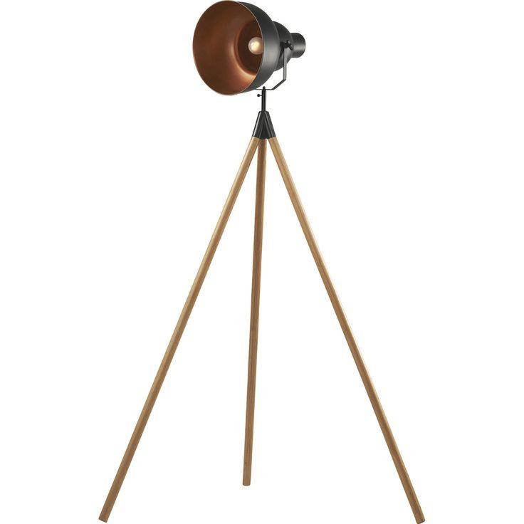 Trendy zwarte vloerlamp Ziva met koperen elementen. Hoogte: 164 cm. #kwantum_woonahaves_vloerlamp1 #kwantum #kwantum_nederland #woonahaves #daarwoonjebetervan