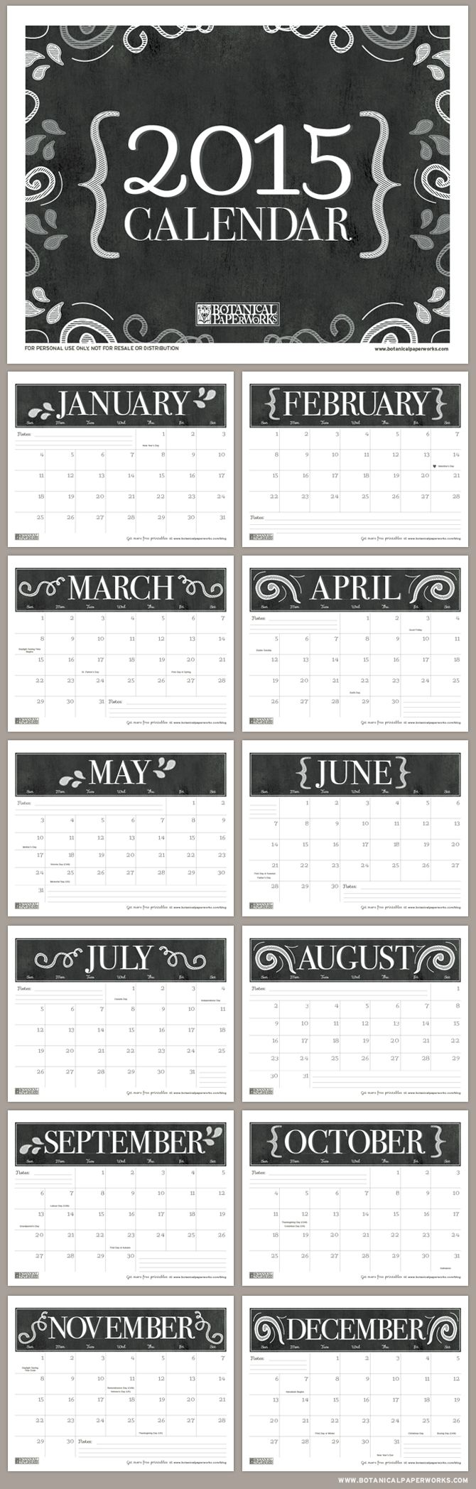 Get organized with this handy chalkboard style FREE printable calendar for 2015. Download more #freeprintables for 2015 here: http://www.pinterest.com/hre/2015-free-printables/