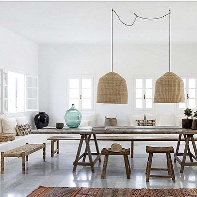 """Love the pendant lights in this bright white dining room! Pretty picture by @ricardromain #interieur"""