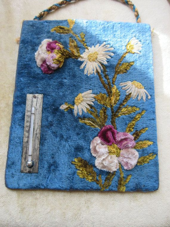 Victorian Embroidery - Antique Thermometer - Strong Museum Collection - Antique Needlework - Heirloom Embroidery - Home Decor - Florals $75 etsy