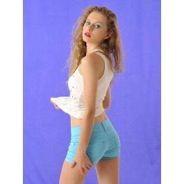 Pantalones Cortos Mujer Turquesa PA181