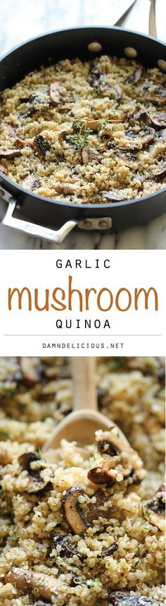 Garlic Mushroom Quinoa - An easy, healthy side dish that you'll want to make with every single meal! Don't add parmesan during fast. – More at http://www.GlobeTransformer.org