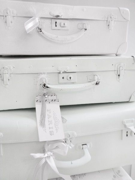 Painted white suitcases ♥
