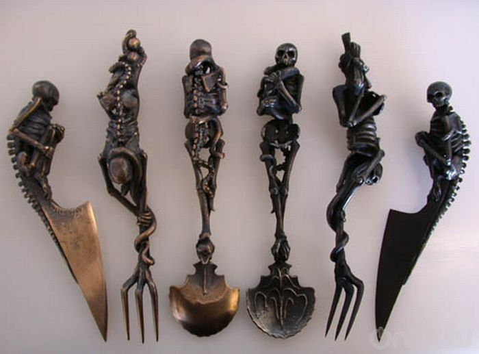 Knife Fork Spoon Goth Gothic Skeleton Halloween Kitchen