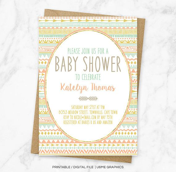 Tribal Girl Baby Shower Invitation Boho Baby Shower Aztec